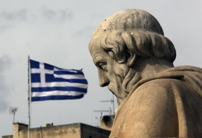 A statue of Greek philosopher Plato is seen in central Athens